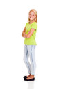 Happy preteen girl side view portrait isolated on white Royalty Free Stock Photo