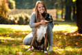 Happy Pretty Woman With German Boxer Royalty Free Stock Photo