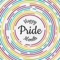 Happy Pride month banner with typography text in abstract colorful rainbow line dash circle texture background vector design Royalty Free Stock Photo