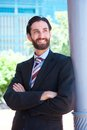Happy professional businessman smiling Royalty Free Stock Photo