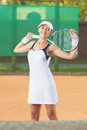Happy Professional Tennis Player At Court Stock Photos