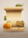 Happy pumpkin message and scrolled old paper vector illustration Royalty Free Stock Image