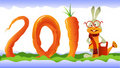 Happy Rabbit and Curly Carrot 2011 Stock Photos