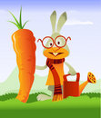 Happy Rabbit and Giant Carrot Royalty Free Stock Photo