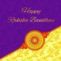 Happy Raksha Bandhan. Elegant greeting card with beautiful rakhi