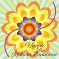 Happy Raksha Bandhan. Elegant greeting card with beautiful rakhi for Indian festival of brother and sister love, celebration