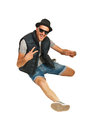 Happy rapper man gesticulate isolated on white background Stock Photography