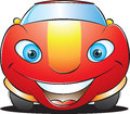 Happy red car vector illustration of a smiling mascot Stock Image