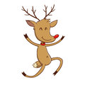 Happy Reindeer Jumping With Joy