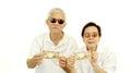 Happy rich cool asian senior showing cash money japanese Yen Royalty Free Stock Photo