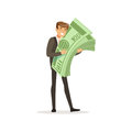 Happy rich successful businessman character holding giant money stack vector Illustration