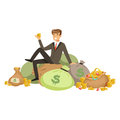 Happy rich successful businessman character sitting on a pile of money bags and precious stones vector Illustration