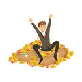Happy rich successful businessman character sitting on a pile of money and precious stones vector Illustration