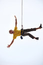 Happy rock climber hanging on rope Royalty Free Stock Photo
