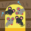 Happy rodents an illustration of rats inside a mouse hole Royalty Free Stock Photo