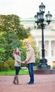 Happy romantic couple in Saint-Petersburg Stock Photo