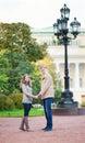 Happy romantic couple in Saint-Petersburg Stock Photo