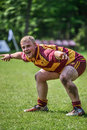 Happy rugby player in action at match of vilnius academy lithuania vs okehampton england may in vilnius lithuania Stock Image