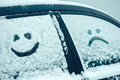 Happy and sad smiley emoticon face in snow