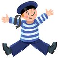 Happy sailor jolly boy in vest and hat Stock Photo