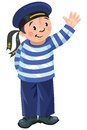Happy sailor jolly boy in vest and hat standing and waved his hand Royalty Free Stock Photo
