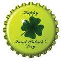 Happy saint patrick bottle cap Royalty Free Stock Images