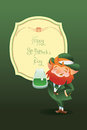 Happy saint patrick day gratters leprechaun design of st with lettering greeting Royalty Free Stock Photography