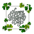 Happy Saint Patrick's day handwritten message, brush pen lettering on green shamrock background in square frame