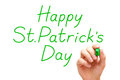 Happy saint patricks day green marker hand writing patrick s with Stock Image