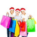 Happy Santa boys with gifts Stock Photography