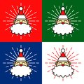 Santa Claus Head Cartoon Illustration with Fireworks in Four Background Colours Royalty Free Stock Photo