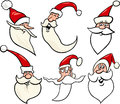 Happy santa claus cartoon faces icons set Stock Photos