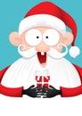 Happy Santa Claus with Gift Vector Cartoon
