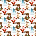 Happy Santa Claus snowman bear seamless pattern merry christmas holiday cartoon character illustration. Red costume old man Royalty Free Stock Photo