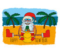 stock image of  Happy Santa Claus on tropical winter