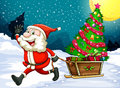 A happy santa pulling the sleigh with a christmas tree illustration of Royalty Free Stock Images