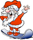 Happy Santa on snowboard Stock Image