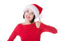 Happy santa woman gesturing thumbs up isolated on white Royalty Free Stock Photography