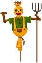 Happy scarecrow holding trident Royalty Free Stock Photo