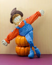 Happy Scarecrow Poses With Arms Stretched Wide Royalty Free Stock Photo