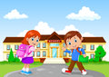 Happy school children with backpack on school building background