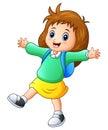 Happy school girl cartoon