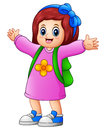 Happy school girl cartoon Royalty Free Stock Photo