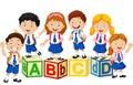 Happy school kids with alphabet block Royalty Free Stock Photo