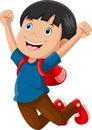 Happy schoolboy cartoon jumping