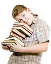 Happy schoolchildren with books on white background Royalty Free Stock Photo