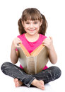 Happy schoolgirl with big book. isolated on white background Royalty Free Stock Photo