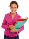 Happy schoolgirl with folders Stock Photo