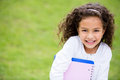 Happy schoolgirl outdoors Royalty Free Stock Photo