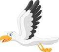 Happy seagull cartoon flying Royalty Free Stock Photo